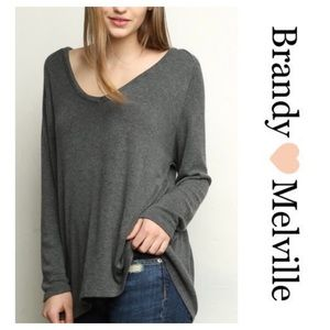 Brandy Melville gray long sleeve top. One Size